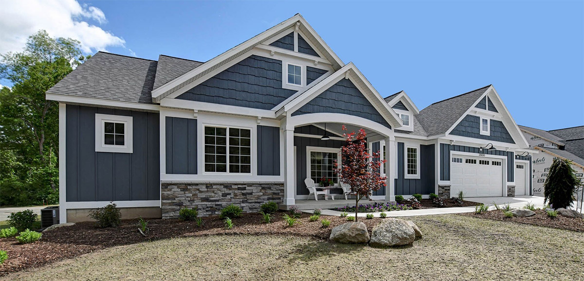 exterior blue house with white trim